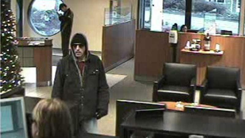 Surveillance image of bank robbery suspect in Lake Oswego. (Lake Oswego PD/KPTV)