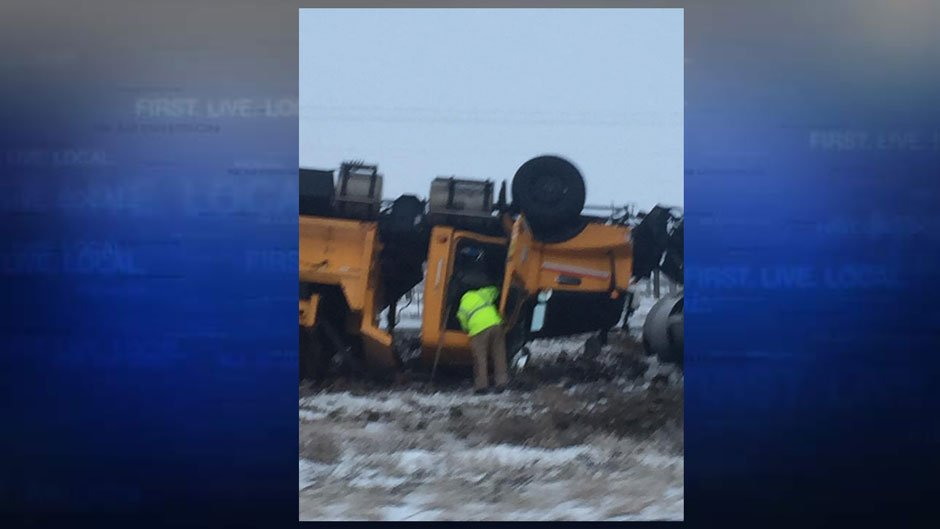 Snowplow rolls over on I-84 (FOX 12 Viewer Photo)