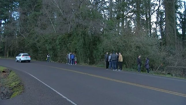 Friends of the teenagers involved in a crash on Mt. Scott Boulevard gathered at the crash site Sunday to mourn their loss. (KPTV)