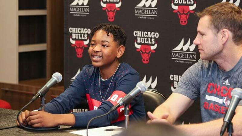 Trey Flowers, who attends Central Catholic High School in Portland, signed a one-day contract with the Chicago Bulls through the Make-A-Wish Foundation. (Photo: Grace Wiley/Chicago Bulls)