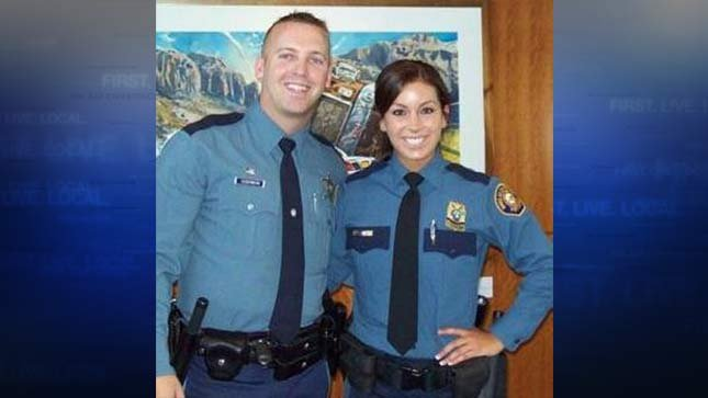 Trooper Nic Cederberg with wife Officer Hayley Shelton (Photo courtesy: Oregon State Police)