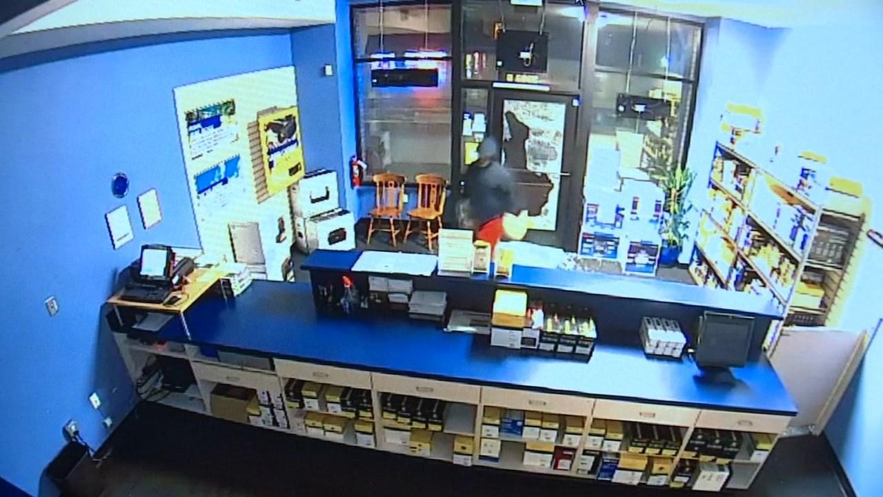 Surveillance image of break-in at Cartridge World in southeast Portland. (Image: Cartridge World/KPTV)