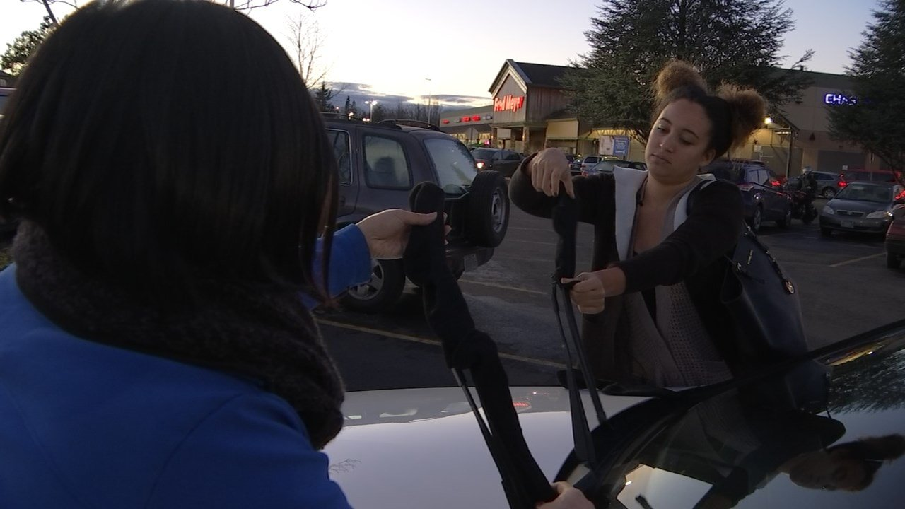 Covering windshield wipers with socks can help prevent snow and ice buildup. (KPTV)