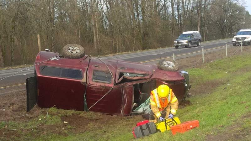 A pickup was hit by a DUI suspect on I-5 near Woodland, according to police. (Photo: Washington State Patrol)