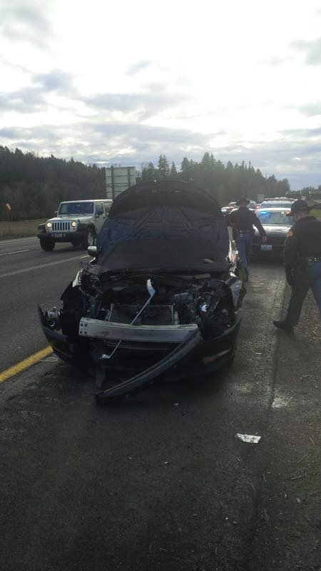 A DUI suspect was arrested after hitting two cars on I-5 in SW Washington, according to police. (Photo: Washington State Patrol)