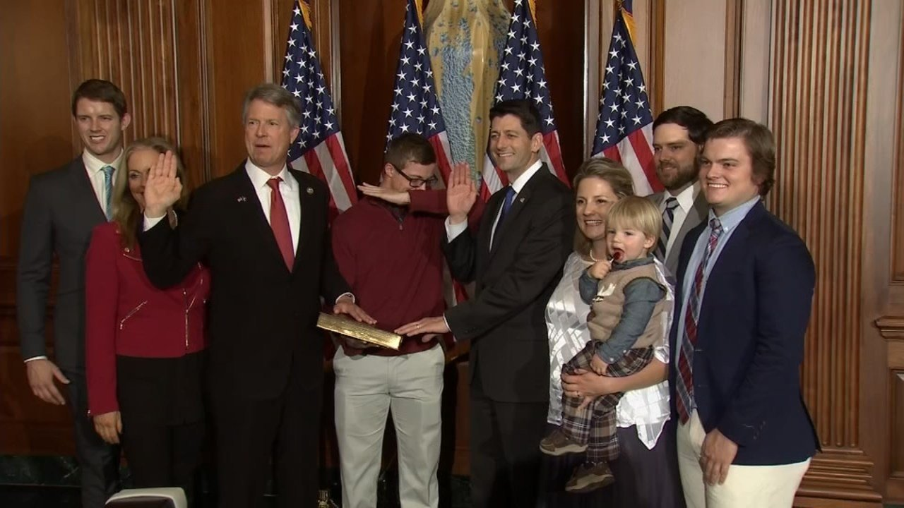 """Speaker Paul Ryan seemed somewhat taken aback when the son of newly sworn-in Congressman Roger Marshall decided to """"dab"""" during a photo op Tuesday. (CNN)"""