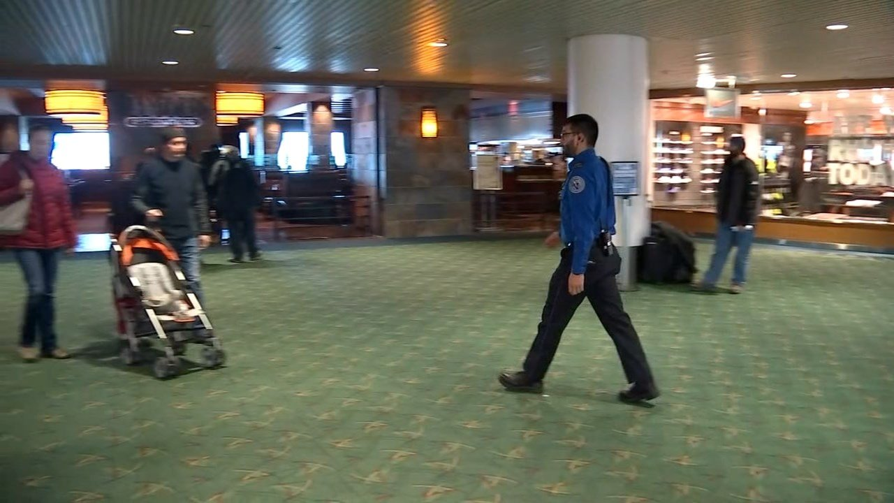 Security at Portland International Airport on Friday. (KPTV)