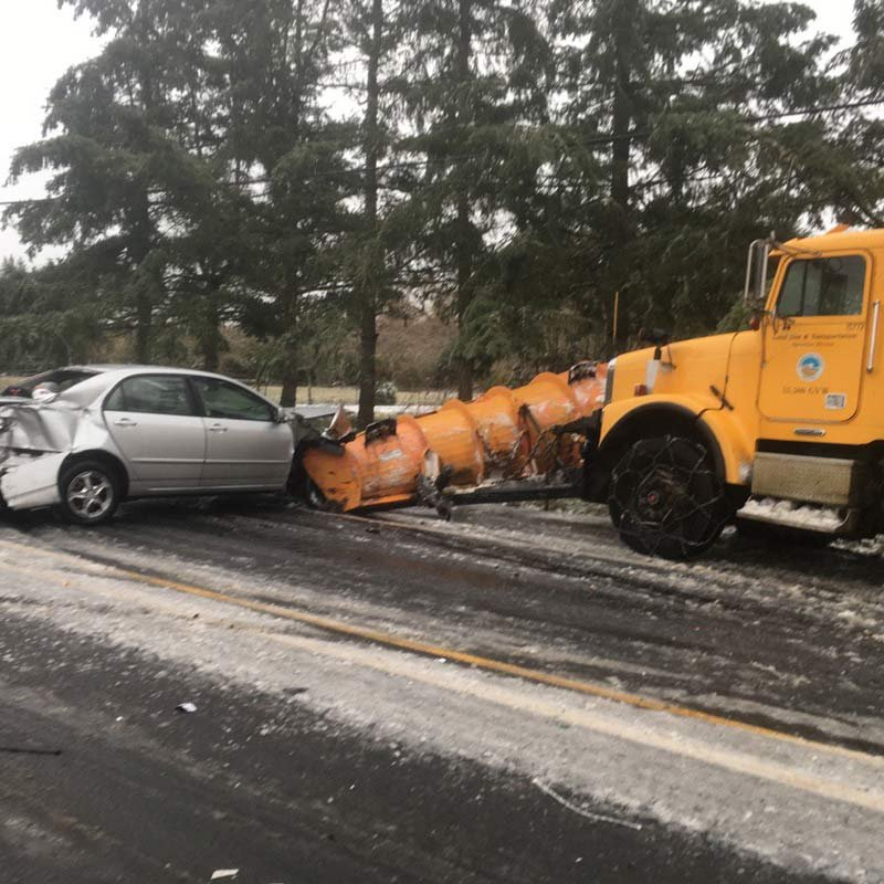A car with chains lost control, leading to this crash. The Washington County Sheriff's Office said nobody was hurt. (Photo: Washington County Sheriff's Office)
