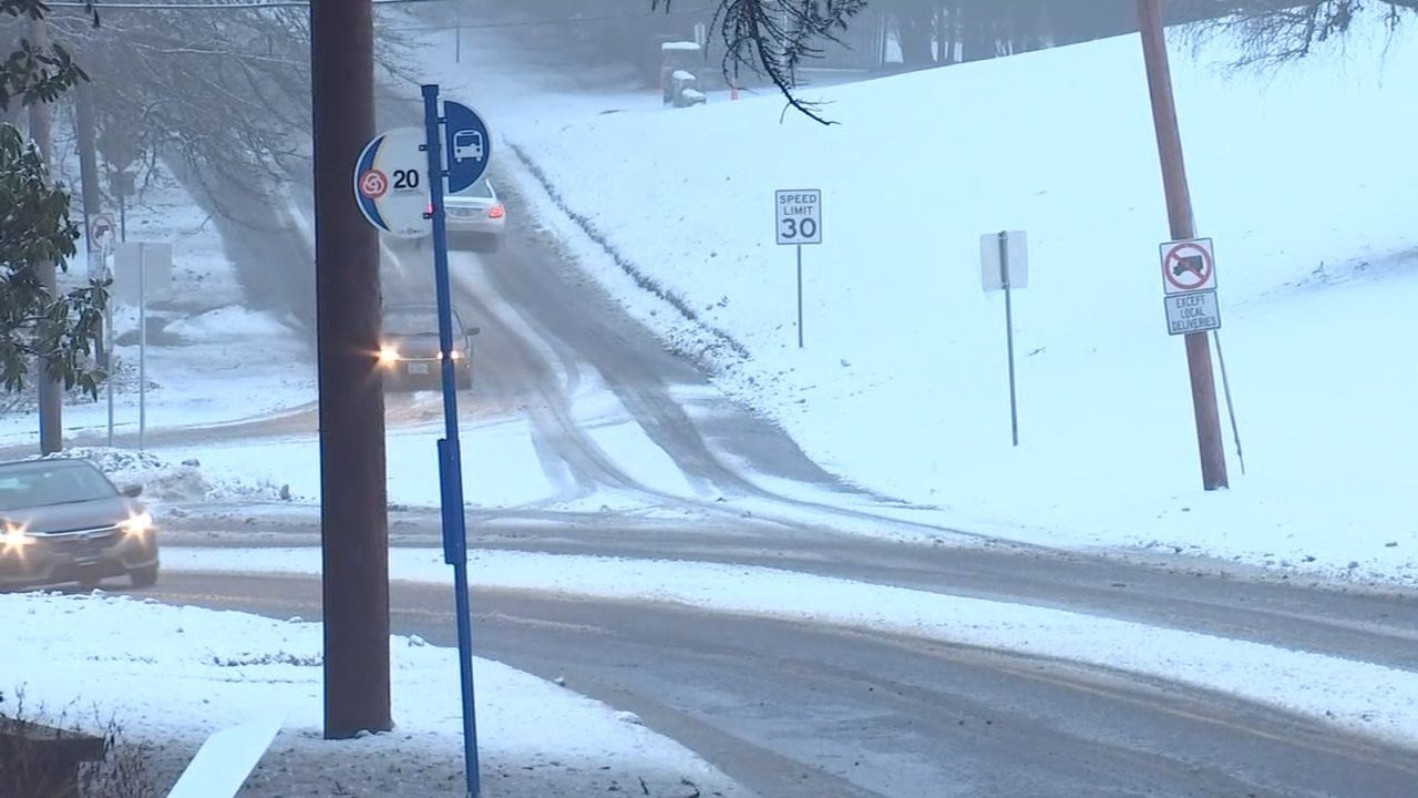 Icy conditions remained on some Portland streets Monday. (KPTV)