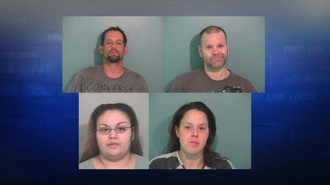 "Suspects wanted in connection with ""Operation Deicer"" in Polk County: Aaron Welin, James VanDyke, Crystal Aguirre and Melanie Allen. Not pictured: Danielle Ralston, Joel Weiss. (Images from Polk County Sheriff's Office)"