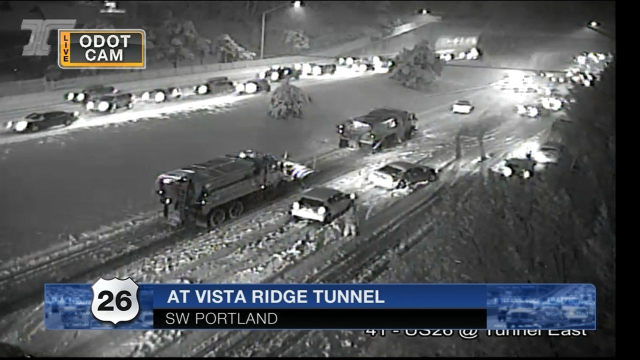 ODOT cam at Vista Ridge Tunnel around 10:30 p.m. Tuesday. (KPTV)