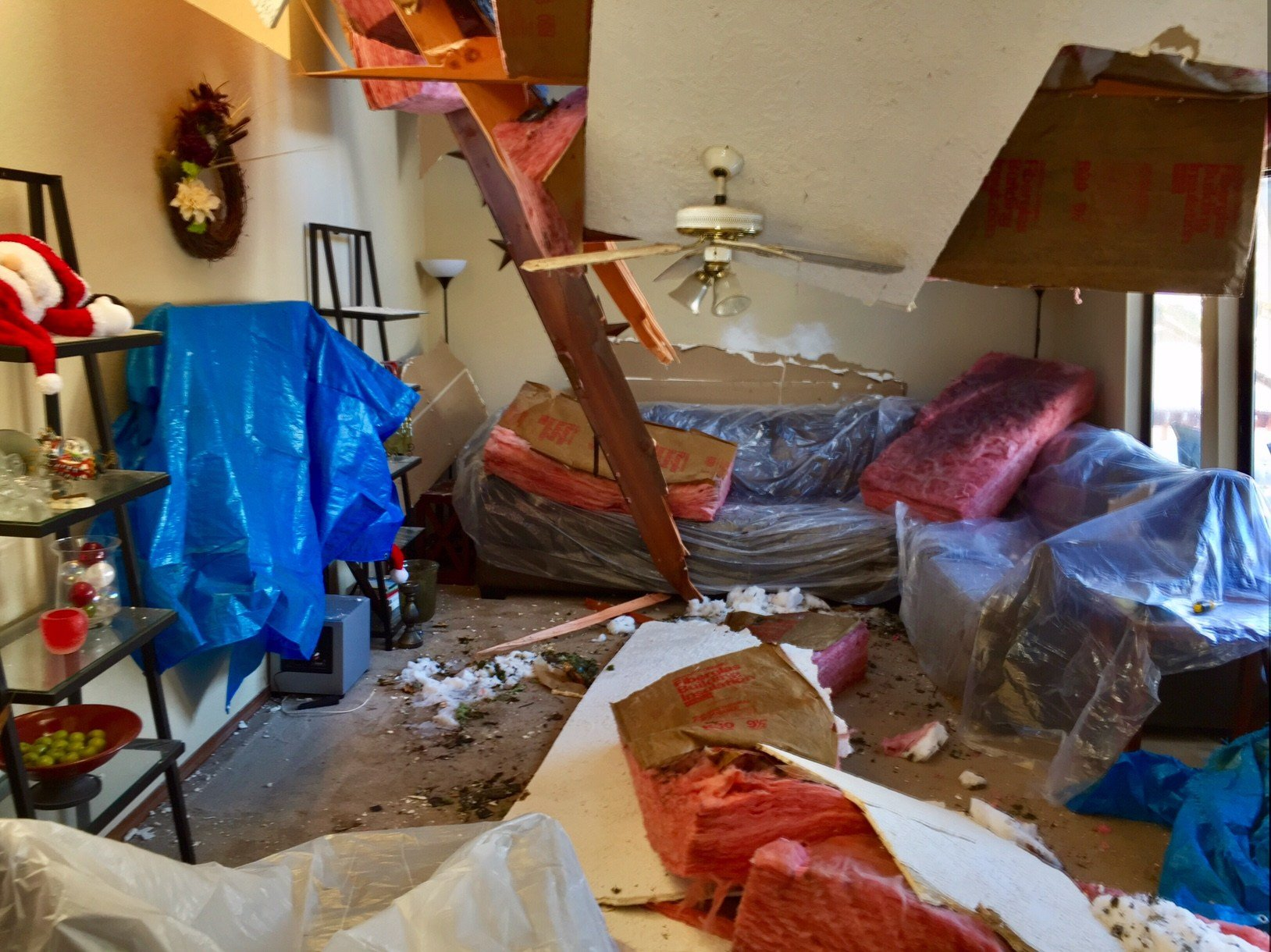 A look at the damage near the couch where the kids were sitting. (KPTV)