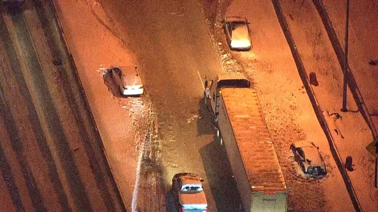 Cars abandoned during snowstorm this week. (Air 12/KPTV)