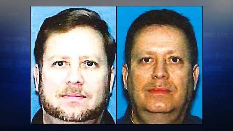 Charles Hollin, DMV photo from Indiana on left and Oregon on right. (Images released by FBI/DOJ)