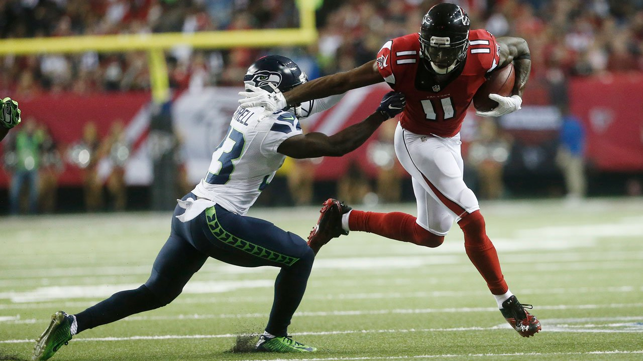 Atlanta Falcons wide receiver Julio Jones (11) works against Seattle Seahawks free safety Steven Terrell (23) during the first half of an NFL football divisional football game, Saturday, Jan. 14, 2017, in Atlanta. (AP Photo/John Bazemore)