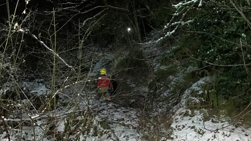Special operations team member Russ Reese and Brett Johnson secure a rescue line below the victim.  (Photo: Longview Fire Department)