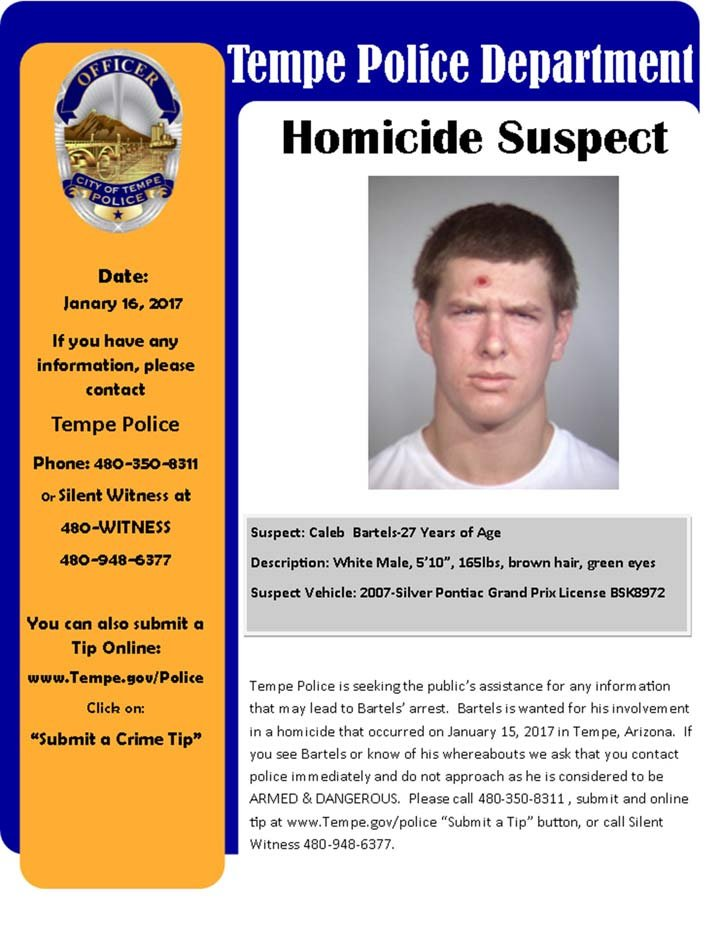 Caleb Bartels wanted poster (Image: Tempe Police Department)
