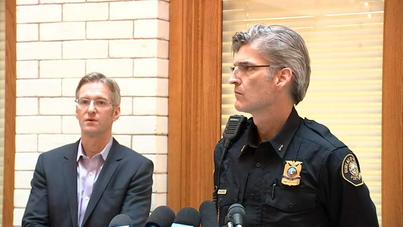 Mayor Ted Wheeler and Police Chief Mike Marshman discussing Portland inauguration protests. (KPTV)