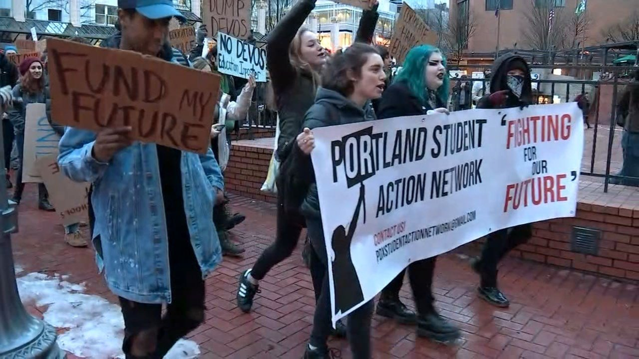 Protest march in Portland on Thursday. (KPTV)