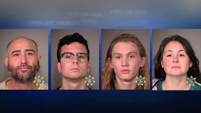 Four people were arrested on charges of second-degree disorderly conduct during Friday's protests in downtown Portland. (Multnomah County Jail booking photos)
