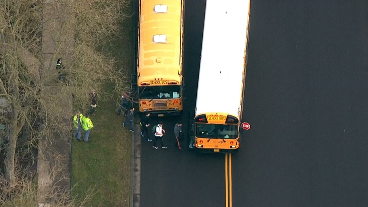 A Liberty High School bus was involved in a crash in Hillsboro on Monday. (Air 12/KPTV)