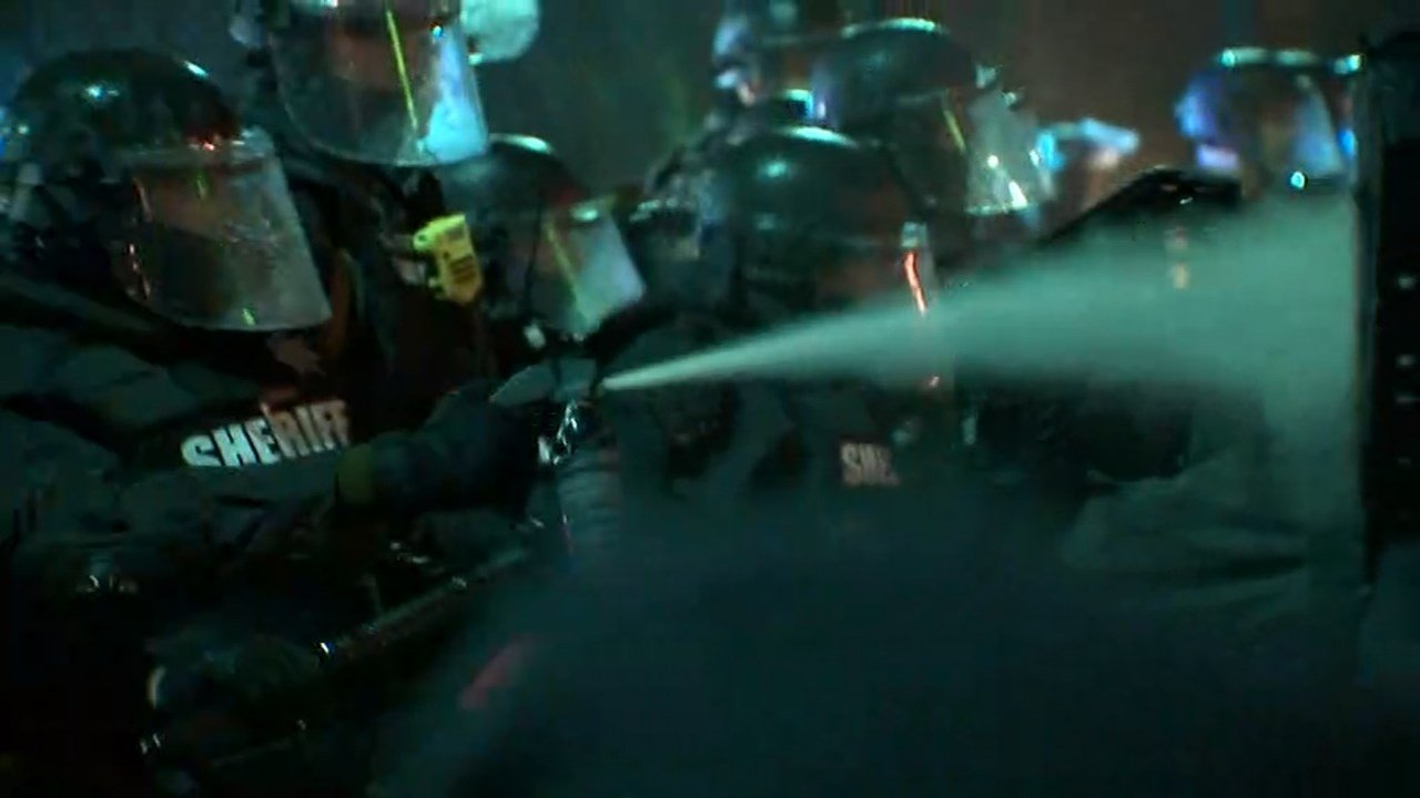 Protest on Friday in downtown Portland. (KPTV)
