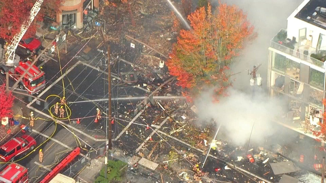 Image from Air 12 over the scene of a natural gas explosion in northwest Portland. (KPTV)