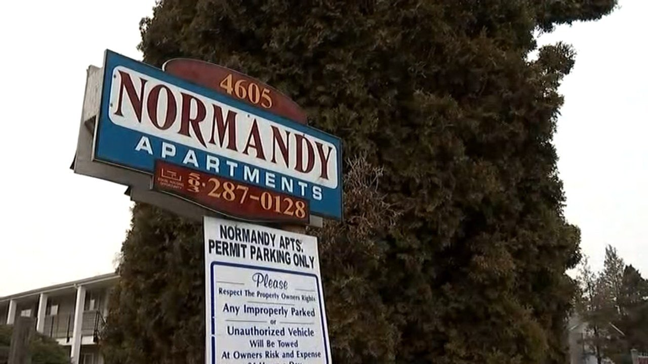 Residents at the Normandy Apartments on Northeast Killingsworth got notices on their doors late last month saying that rent was increasing by 100 percent or more. (KPTV)