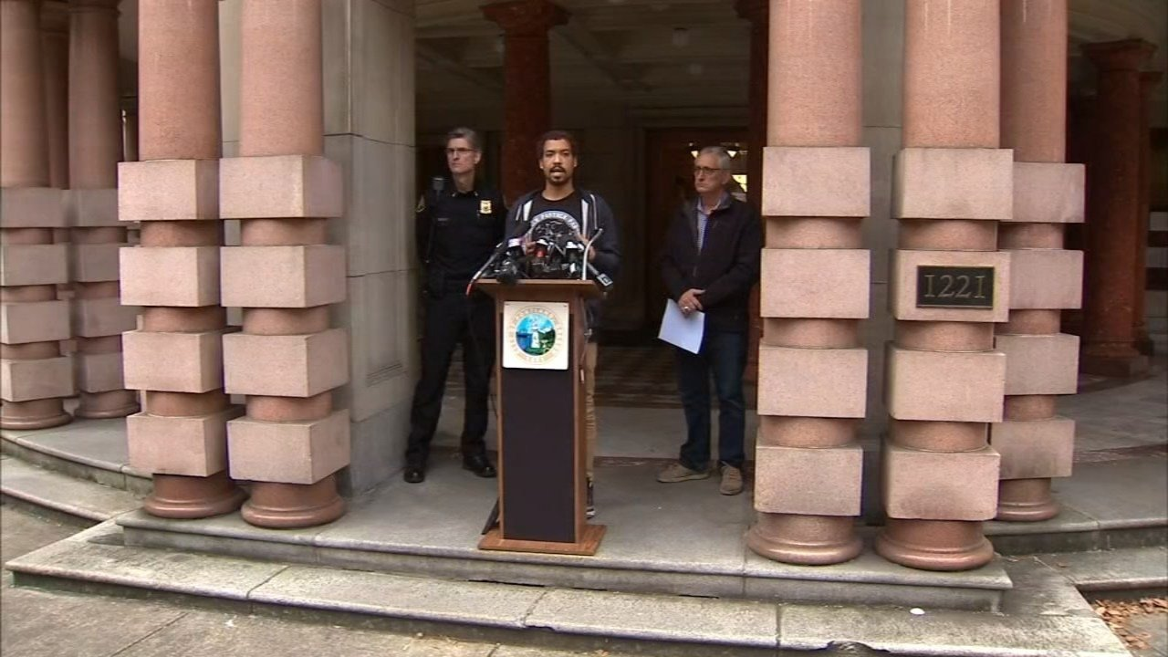Protest leader Micah Rhodes spoke at a press conference in November with then-Mayor Charlie Hales and Police Chief Mike Marshman. (KPTV file image)
