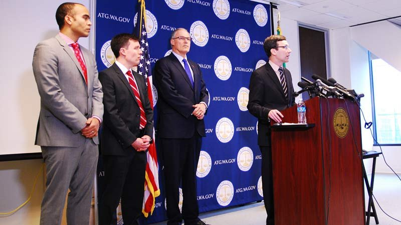 From left: Nick Brown, general counsel to Governor Jay Inslee, Solicitor General Noah Purcell, Governor Inslee, Attorney General Bob Ferguson. (Photo: State of Washington)