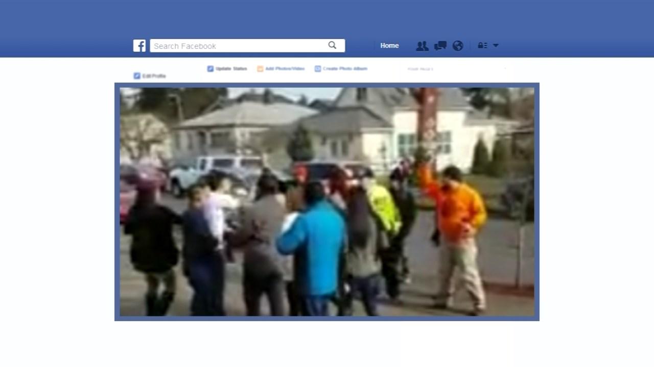 Street preachers outside Spanish mass in SE Portland. (Facebook)