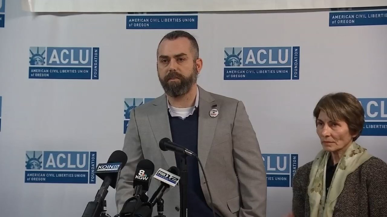 Members of ACLU of Oregon and Immigrant Law Group PC at a press conference announcing their suit against President Trump's executive order. (KPTV)