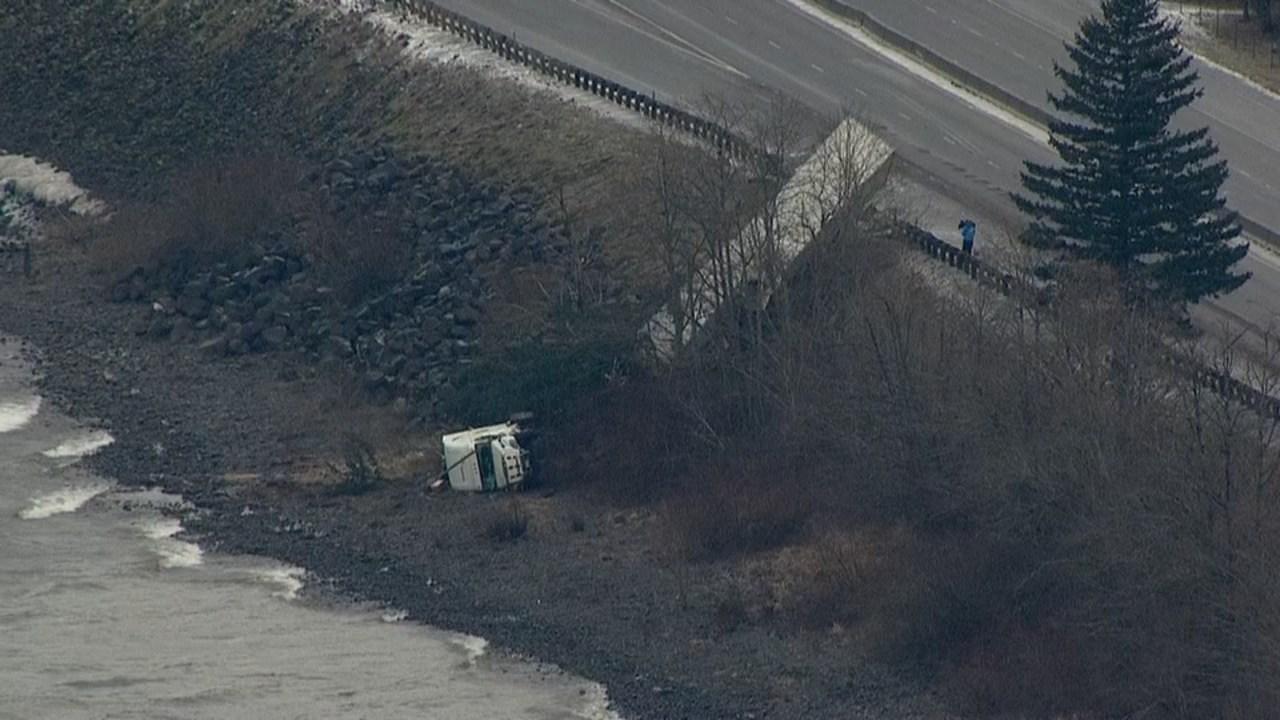 AIR 12 over semi-truck crash