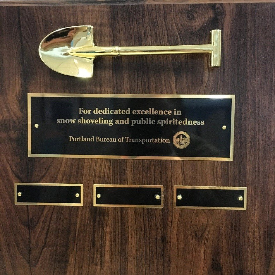 PDX Snow Shoveling Award (Courtesy: PBOT)