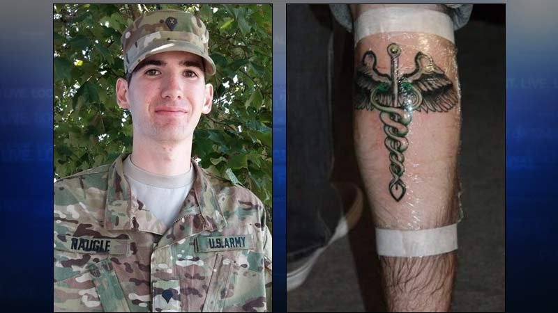 Will Thomas Naugle and his caduceus calf tattoo. (Photos released by Clackamas County Sheriff's Office)