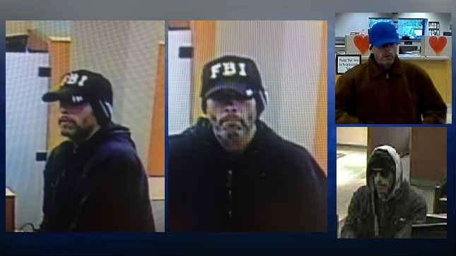 Surveillance images of bank robbery suspect. (Courtesy: FBI-Oregon)