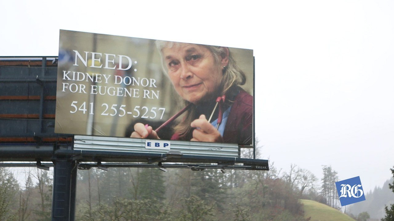 Roxanne Loomis of Eugene has been on the kidney donor list for four and a half years and has now taken out a billboard in an effort to find a donor. (courtesy Eugene Register-Guard)