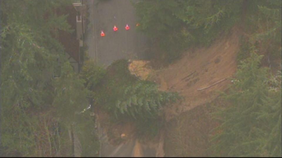 AIR 12 over landslide on NW Santanita Terrace