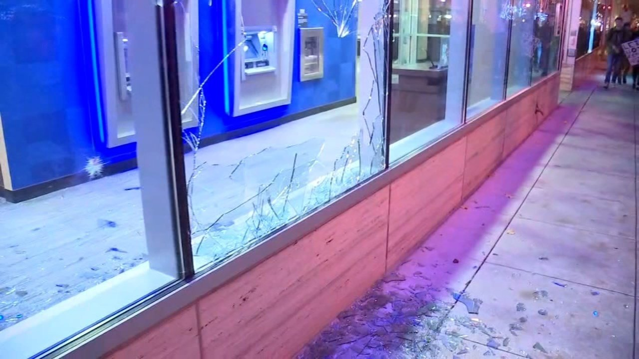 Damage to Chase Bank in the Pearl District during post-election riot in November. (KPTV)