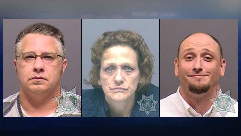 Jail booking photos, from left, of Lynn Benton, Susan Campbell, Jason Jaynes.