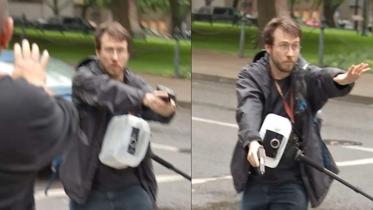Michael Strickland pulled a gun during a Black Lives Matter rally in downtown Portland in July 2016. (Images: KPTV)