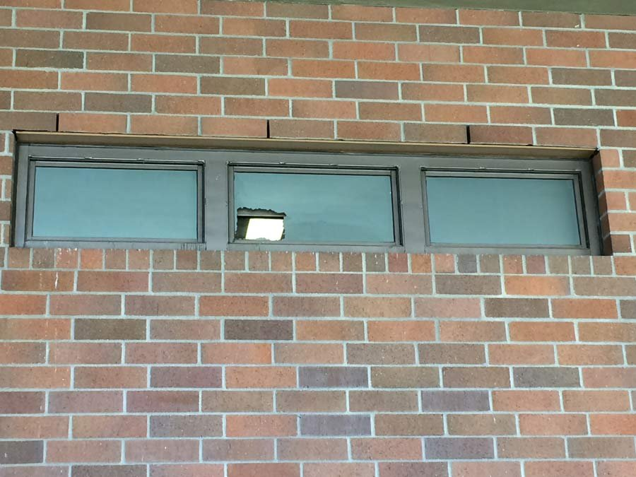 Broken window at Clark County Jail (Photo: Clark County Sheriff's Office)