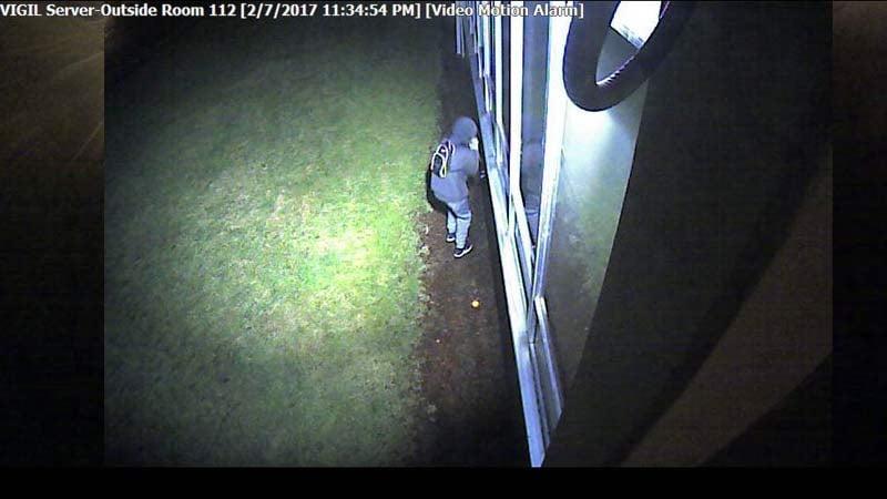 Surveillance image of burglar at Centennial Middle School (Image: Centennial School District)