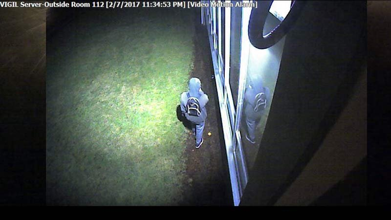 Surveillance image of burglar at Centennial Middle School (Image: Centennial School District)