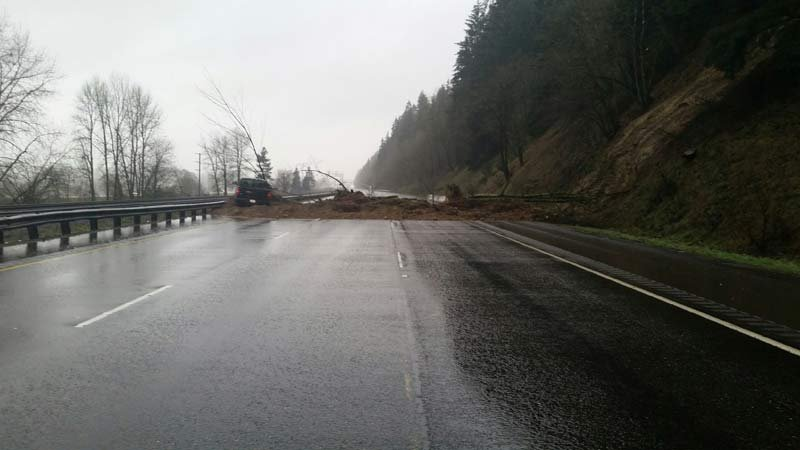 Landslide on Interstate 5 near Woodland. (Photo: Cowlitz County Sheriff's Office)