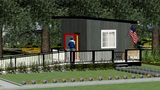 A rendering of what a micro home will look like when finished. (Image: PureKraze Events for Veterans)