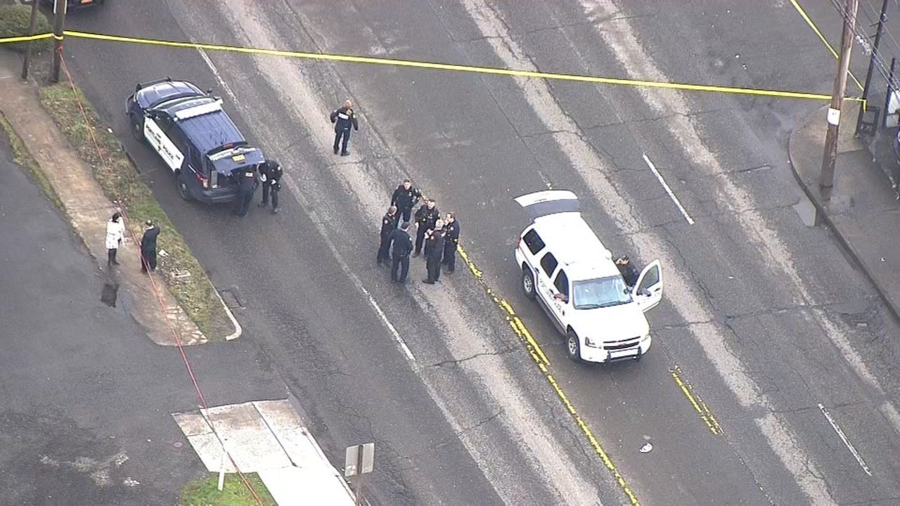 Shooting scene in southeast Portland on Monday. (Air 12/KPTV)