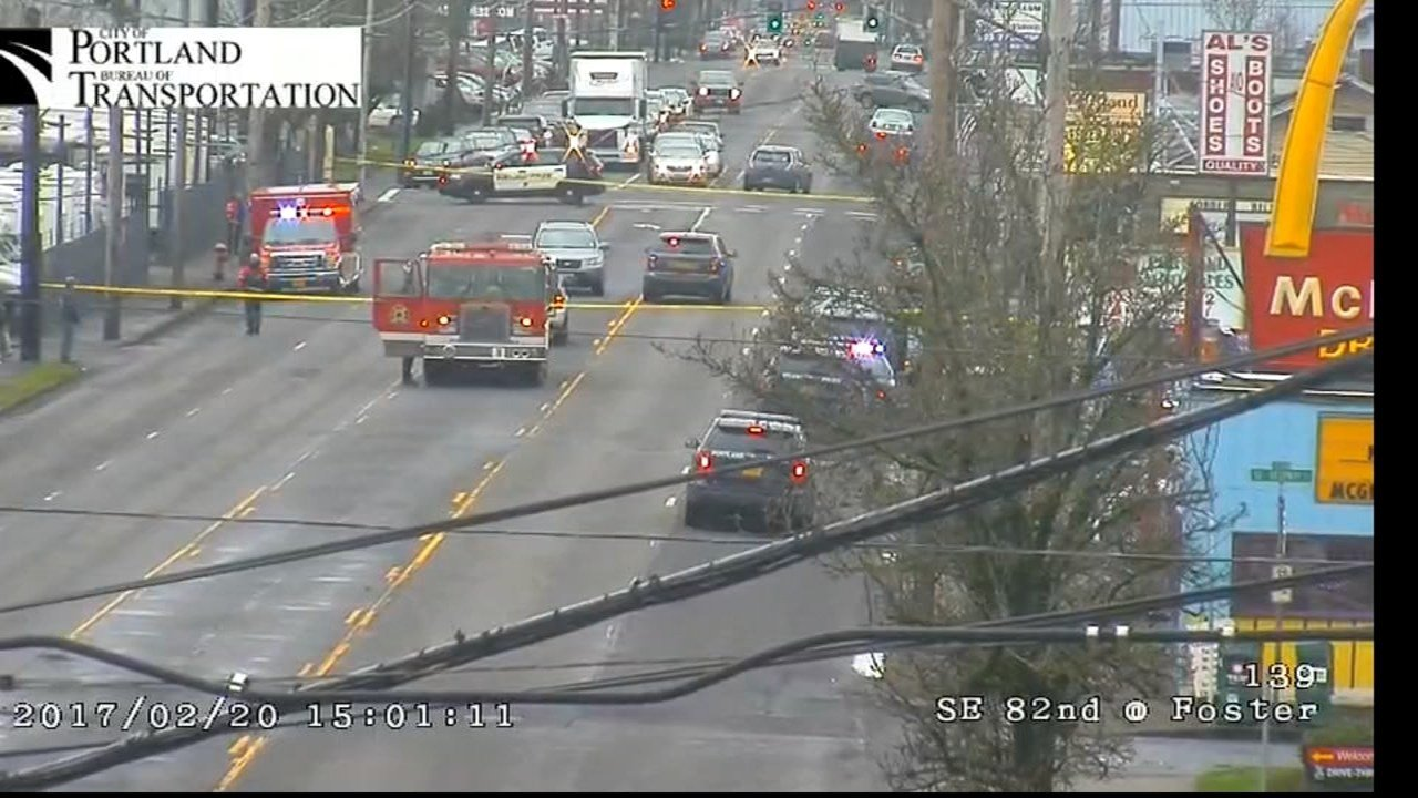 Shooting scene in southeast Portland on Monday. (Image: Portland Bureau of Transportation)