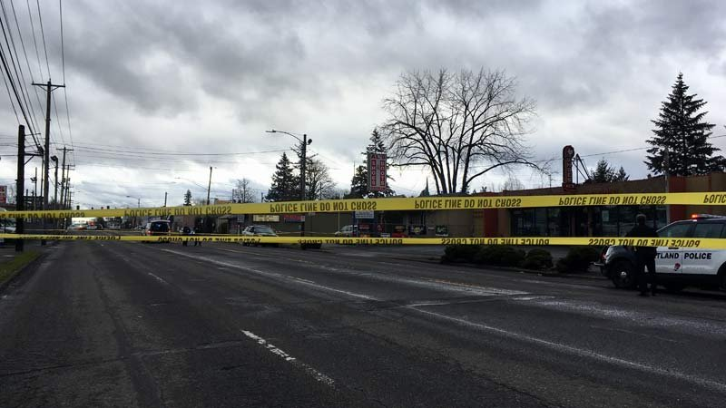 Shooting scene in southeast Portland on Monday. (KPTV)