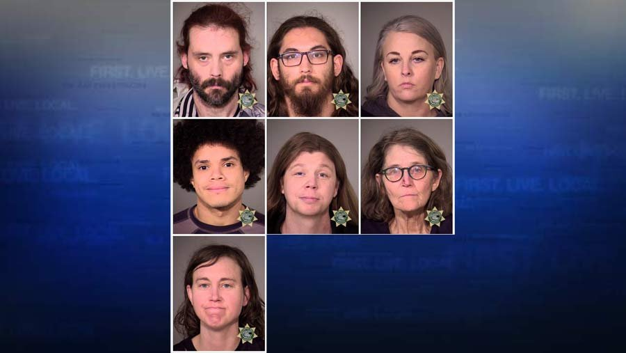 Seven adults and six juveniles were arrested during a protest in downtown Portland on Monday. (Multnomah County Jail booking photos)